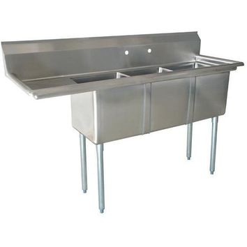 "Stainless Steel 3 Compartment Sink 83"" x 26"" with 20"" Left Drainboard"