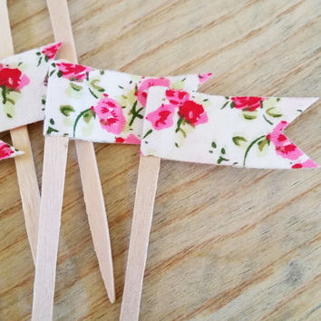 Floral Shabby Rose Fabric Cupcake Topper, Cupcake Pennant Flag, Wooden Food Pick, Cupcake Pick, for Birthdays, Baby Shower, Office Parties