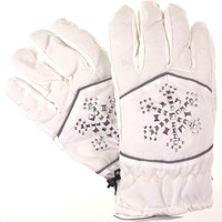 Joe Boxer Womens White Gloves Silver Snowflake 3M 40g Thinsulate Snow Winter NEW