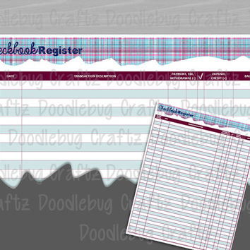 The EASY Life Checkbook Register Log - Account Tracker - INSTANT DOWNLOAD - Full Sheet - Printable - Debits, Credits, Transaction, Balance