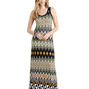 Karen Kane Egyptian Diamond Print Maxi Dress
