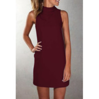 Women'S Casual High Neck Sleeveless Dress