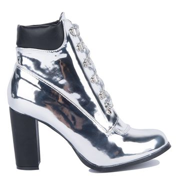 Cape Robbin High Chunky Heel Metallic Shiny Lace Up Booties in Silver, Rose Gold