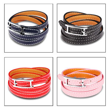 Lady's leather wrist strap Rock punk Three layers leather neutral leather bracelet girls jewelry-Color Blue