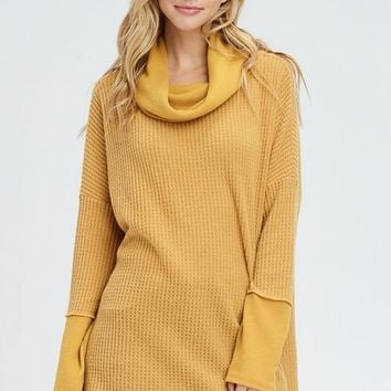 Fireside Cowl Neck Top - Mustard