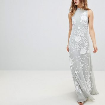 Frock And Frill Premium All Over Embellished High Neck Trophy Maxi Dress at asos.com