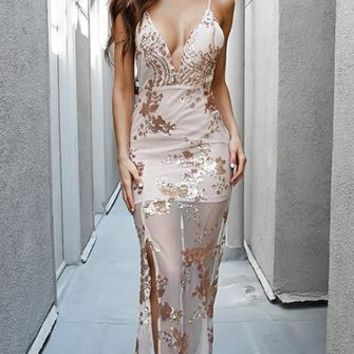 Stunning Soiree Sequin Sleeveless Spaghetti Strap Plunging V Neck High Slit Semi Sheer Mini Maxi Dress - 2 Colors Available