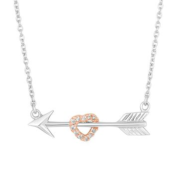 Arrow Necklace with Rose Finish Heart and Cubic Zirconia in Sterling Silver
