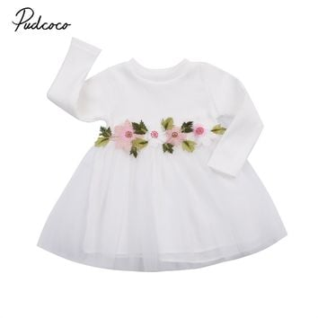 Pudcoco Cute Kids Baby Girls Outfits Long Sleeve Floral Princess Dress Pageant Casual Fashion Baby Girls Tulle Dress
