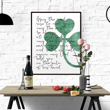 Irish Blessing Wall Quote INSPIRATIONAL Quote Print Printable decor wall art decor poster may the road typography calligraphy wedding print