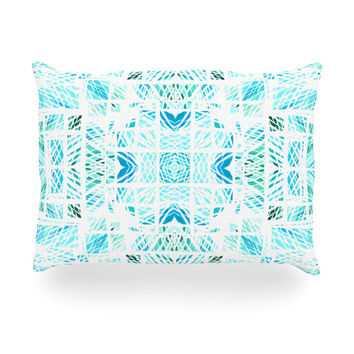 "Danii Pollehn ""Scandanavian Square"" Blue Teal Oblong Pillow"