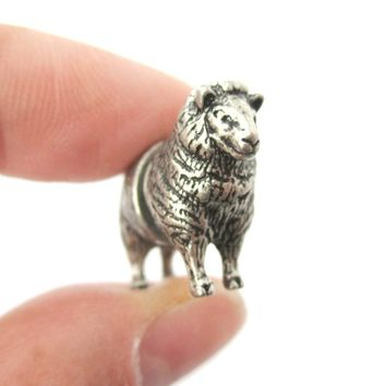 3D Realistic Sheep Shaped Two Part Front Back Stud Earrings in Silver | DOTOLY