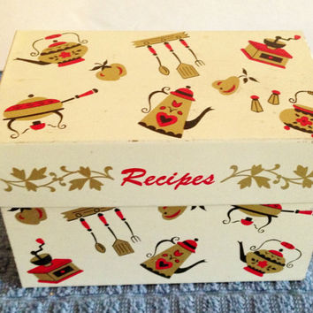 Vintage 1950s Lithographed Metal Recipe Box