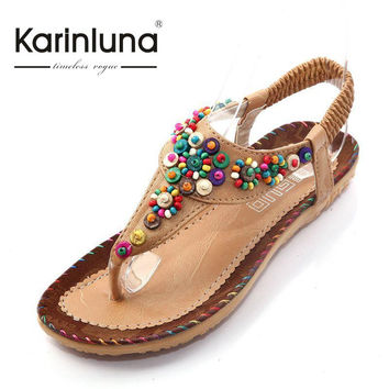 Women's Bohemia Dress Sandals 2016 New Classic Design Ankle T-strap Comfortable Insole Flats Colorful Beaded Summer Sandal Shoes