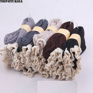 TOIVOTUKSIA Soft Women Girls Winter Warm Knitted Lace Top Trim Boot Socks