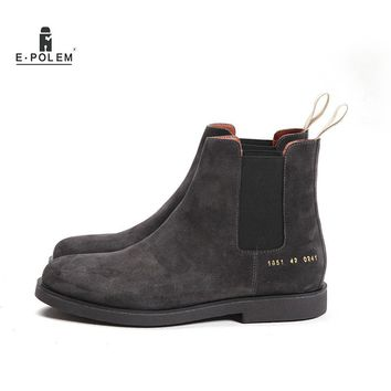 Genuine Leather Men Chelsea Boots Platform Flat Men's Cowboy Suede Boot Shoes Deep Grey Apricot Slip On Ankle Boots 2017 N