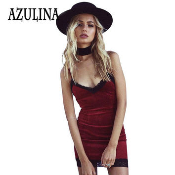 AZULINA Elegant Evening Party Dresses Women Sexy Lace Club Red Velvet Dress Sleeveless Spaghetti Strap Mini Bodycon home Dress