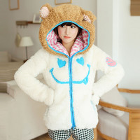 Cute cartoon zipper Hooded coat