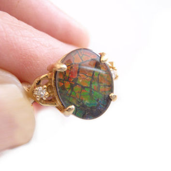 Ammolite Diamond 14k Gold Ring, Canadian Ammolite and Diamonds, 18mm Ladies Fine Jewelry, Gift for Her