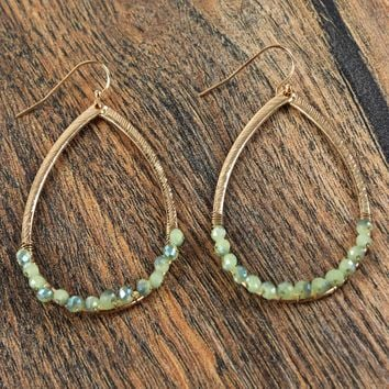 Sage Beaded Loop Earrings