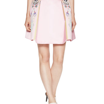 Mary Katrantzou Women's Calculon Wool Pleated A-Line Skirt - Pink -