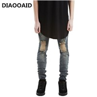 Designer Brand New Men Black Jeans Skinny Ripped Stretch Slim Fashion Hip Hop Swag Man Casual Denim Biker Pants Overalls Jogger
