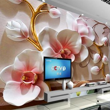 beibehang photo wallpaper 3D Phalaenopsis relief wall Modern fashion floral decorative painting papier peint mural 3d wall paper