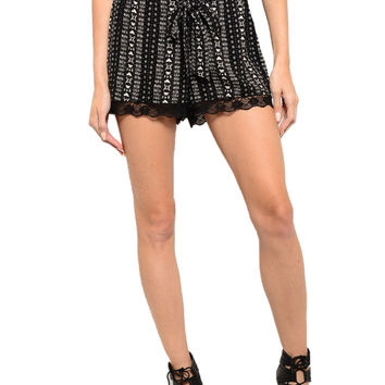 Dressy Mix Print Shorts W/ Crochet Lace Trim