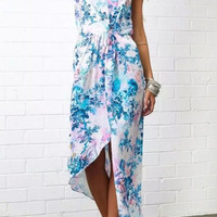 Blue Floral Spaghetti Strap Asymmetrical Maxi Dress