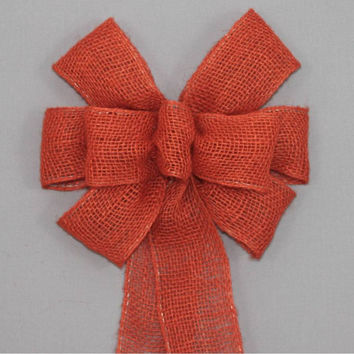Orange Burlap Fall Wreath Bow