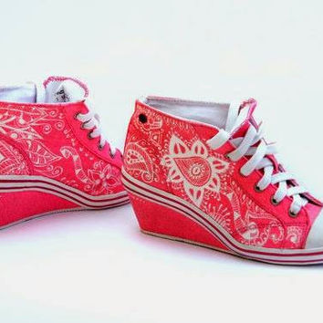 High Heel Sneakers on Sale! Pink Sneakers Hand Painted with Floral Design.