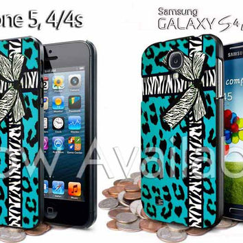 turquoise leopard zebra bow ribbon sweet invitation iPhone Case And Samsung Galaxy Case