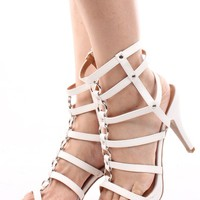 WHITE MIDDLE CHAIN LINK GLADIATOR HEELS