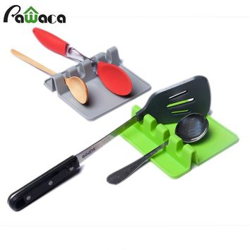 Silicone Spoon Rest Soup Spoon Holder Stand for Spoon Stove Organizer Tool Cooking Utensils Shelf Kitchen Storage Accessories