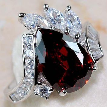4CT Fire Garnet & White Topaz 925 Solid Genuine Sterling Silver Ring Sz 6-10