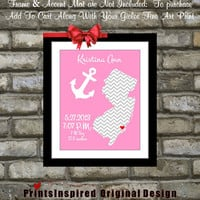 Baby Gift Nautical Anchor Nursery Wall Decor: Newborn Custom Announcement Shower Gift for New Parents State Map Chevron Kids Birthday Print