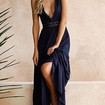 Renaissance Woman Navy Blue Sleeveless Crochet Lace Trim V Neck Maxi Casual Dress