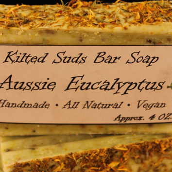 Aussie Eucalyptus Bar Soap, Natural Bar Soap, Vegan Bar Soap, Calendula Soap, Olive Oil Soap, Artisan Soap, Palm Free Soap, Vegan Soap