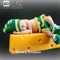 Green, Gold, and White  LET'S PLAY Some FOOTBALL Three Piece Set  Hat/Diaper Cover/Booties (Ready to Ship)