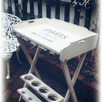 Distressed, shabby chic, cottage, wine table, wine storage, tray table with wine holder, country cottage, french country, white wine rack