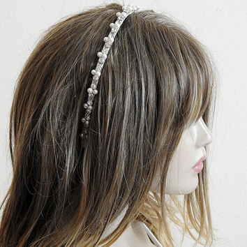 wedding tiara, Wedding Crown, bridal,  headpiece, Bridal Hair Accessory, Hair Wreaths, Rhinestone and Pearl, headband, Accessories, etsy