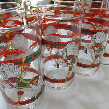 Set of 8, Vintage 1990s Christmas Drinking Glasses by House of Lloyd, Carousel Horse with Plaid Stripe, 5.25 Inches Tall, Vintage Glasses