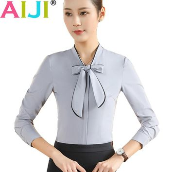 plus size women clothing long sleeve shirts OL elegant bow tie stand collar formal chiffon blouse office ladies work wear tops