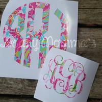 Lilly Pulitzer Inspired Patterned Monogram Decal