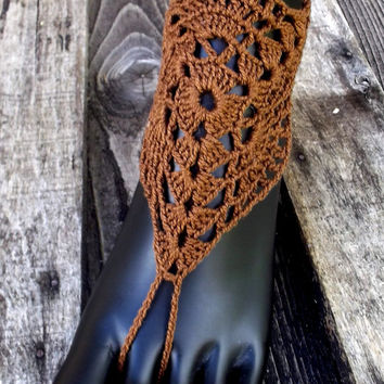 Crocheted barefoot sandals, crochet barefoot sandles, steampunk sandals, anklet, belly dance, victorian lace, brown barefoot sandals, shoes