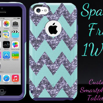 OTTERBOX iPhone 5c Case - iPhone 5c Otterbox - Teal/Purple/Smoke Glitter Large Chevron - Otterbox Case - Chevron Otterbox - Custom Otterbox