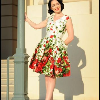 Pinup Couture Sadie Dress in Red Floral Border Print | Pinup Girl Clothing