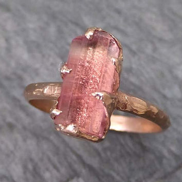 Raw Rough Pink Topaz  14k rose Gold  Ring One Of a Kind Gemstone Ring Recycled gold byAngeline 0025