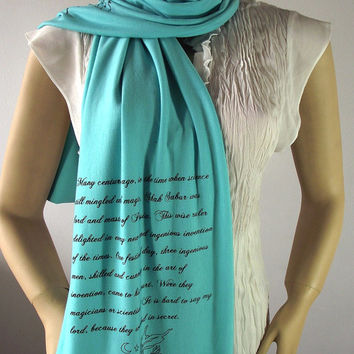 Arabian Nights Quote Scarf Jersey Scarf - One Thousand and One Nights - GREEN MINT Hand Printed Long Scarf Text Scarf Literary Scarf