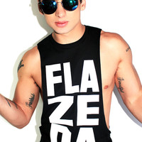 FlaZeDa Low Armhole Tank- Black